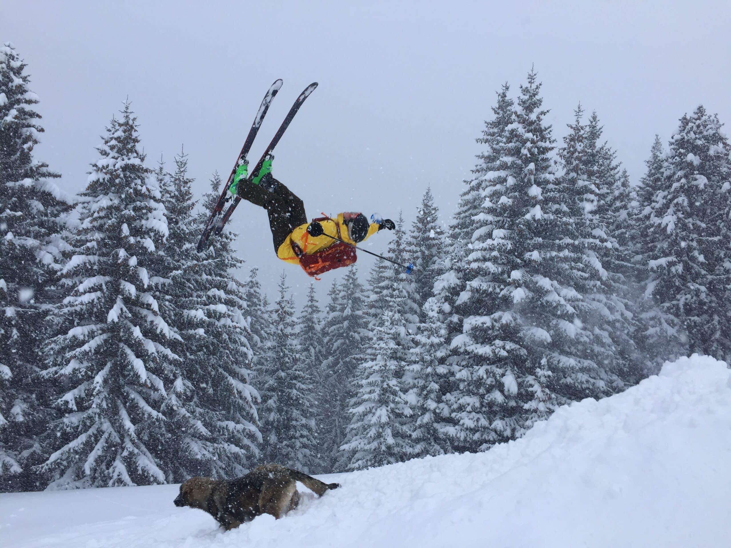 skier wearing best ski boot bag