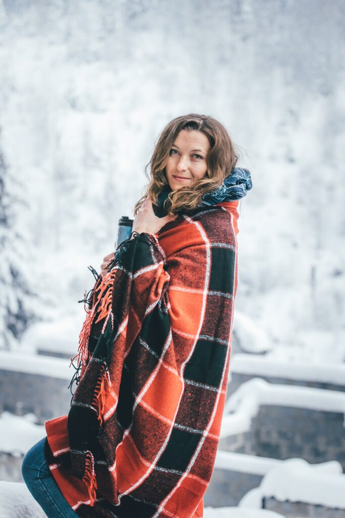 pregnant woman at a ski resort