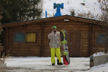 Man in snowboard pants