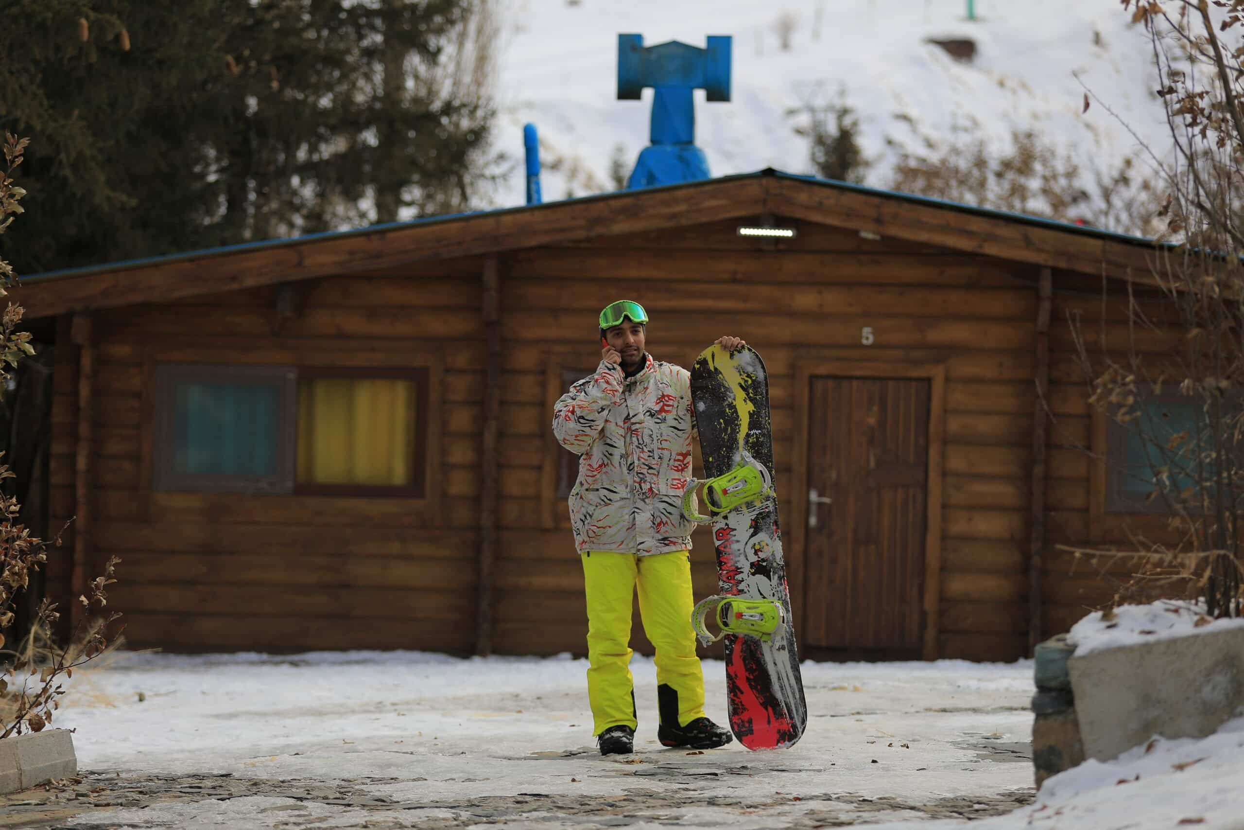 Man in snowboard pants