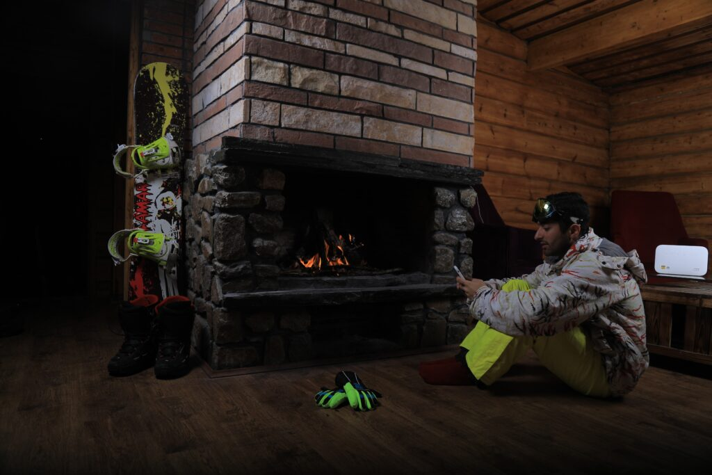 resting beginner snowboarder