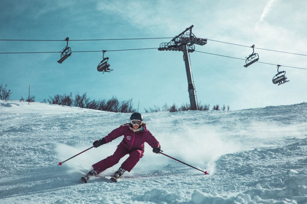 woman burning calories skiing