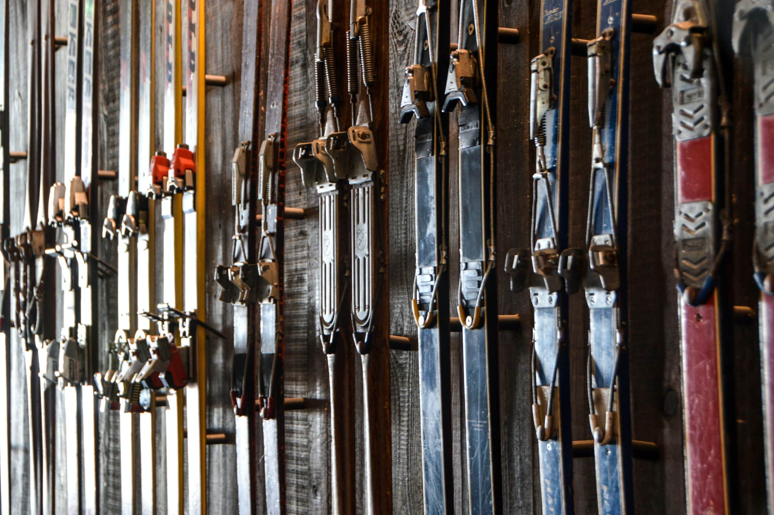 skis with mounted ski bindings