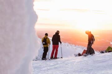 Group of people skiing for the first time