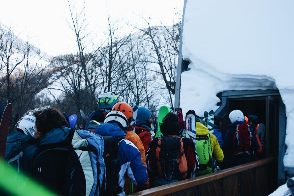 skiers waiting in line for snacks