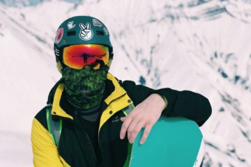 snowboarder with snowboard