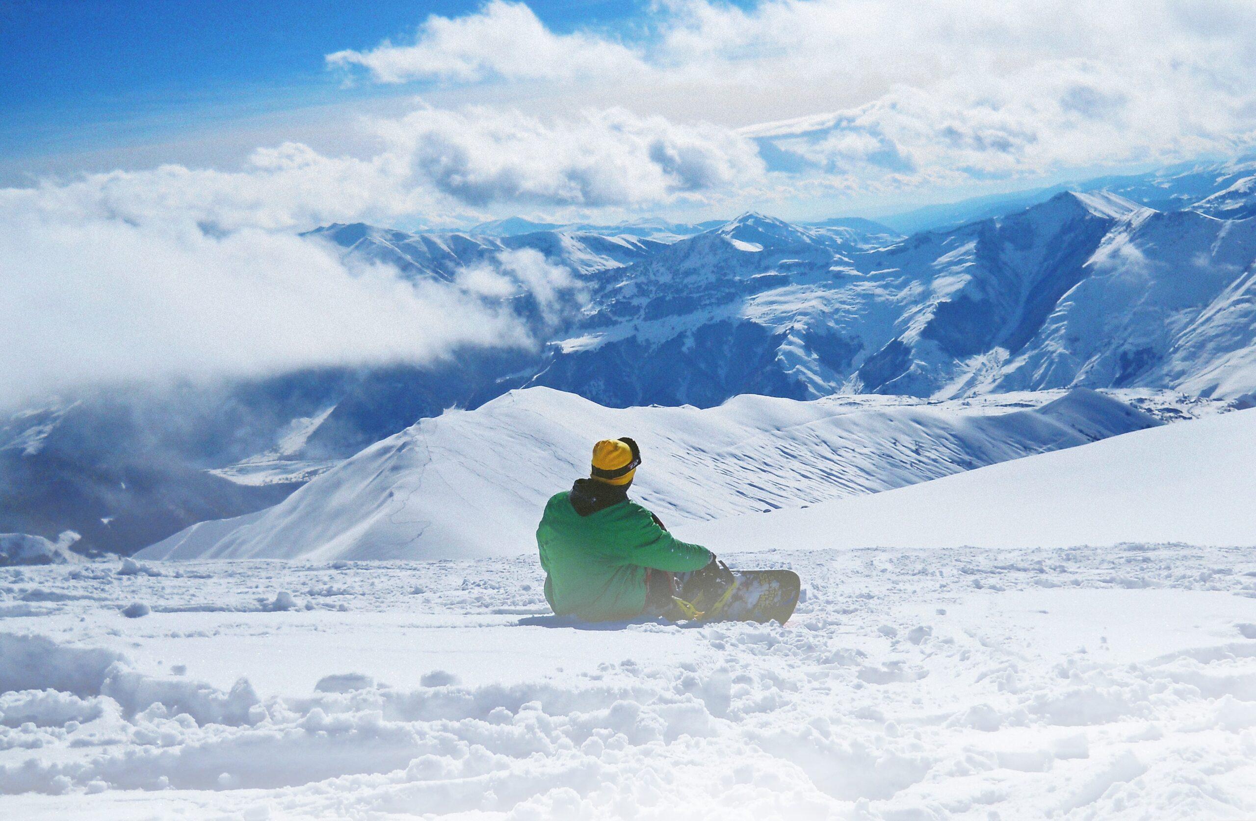 snowboarder on Chamonix Snowboard