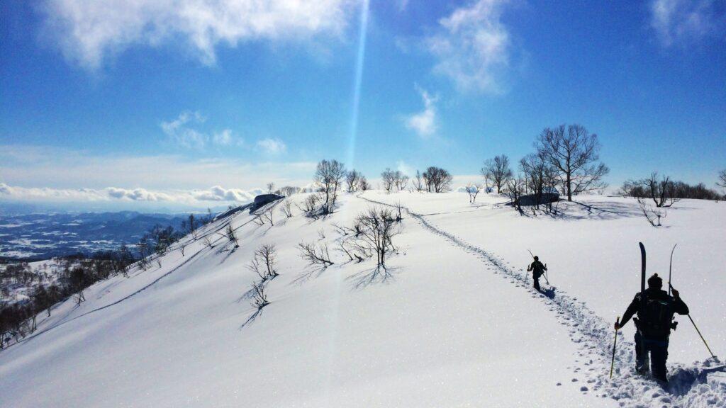 skiiers working hard