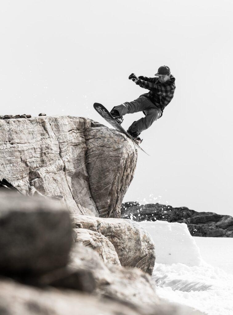Man on Chamonix Snowboard