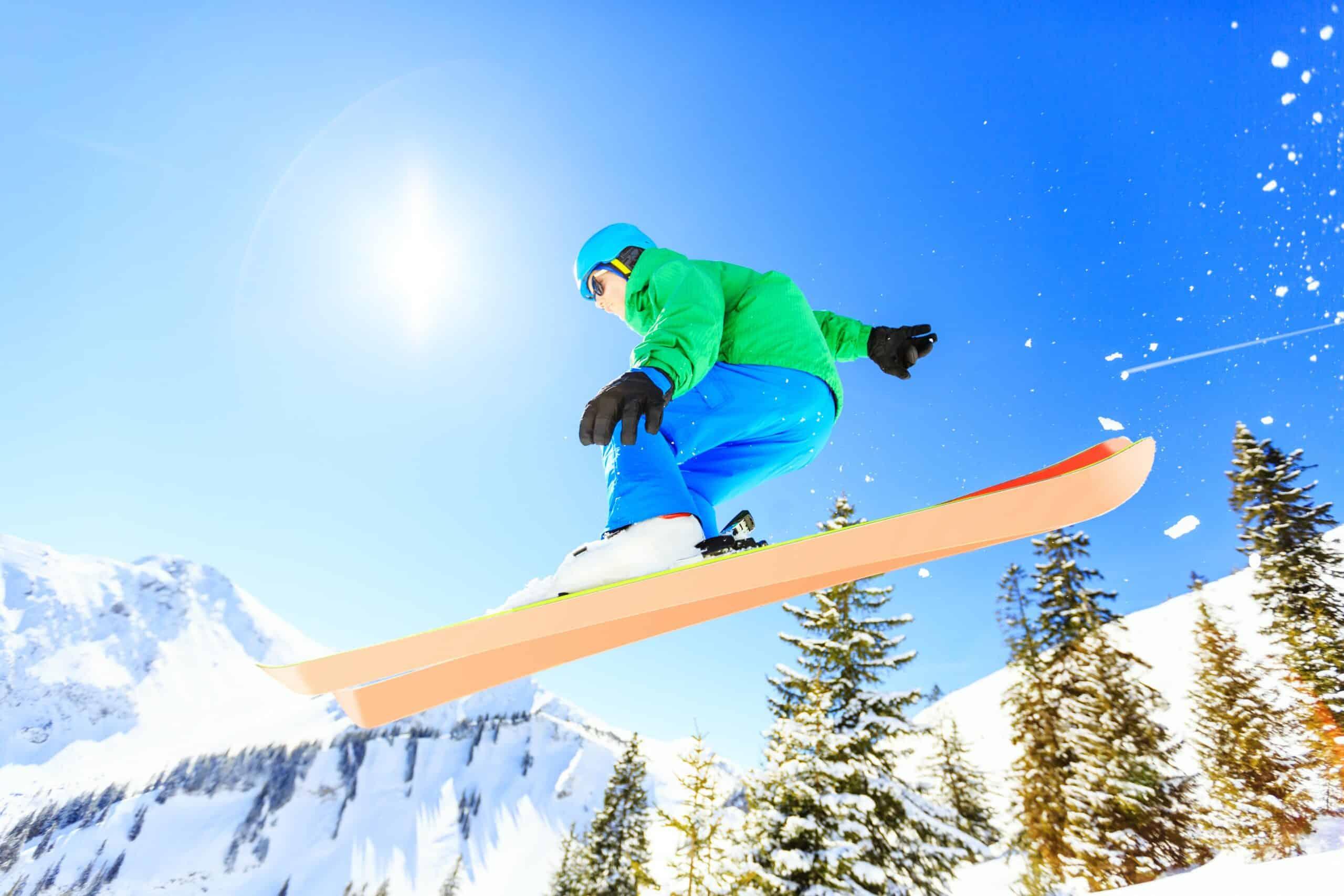 Man in rental ski boots