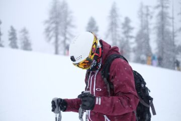 Man in ski goggles in low light