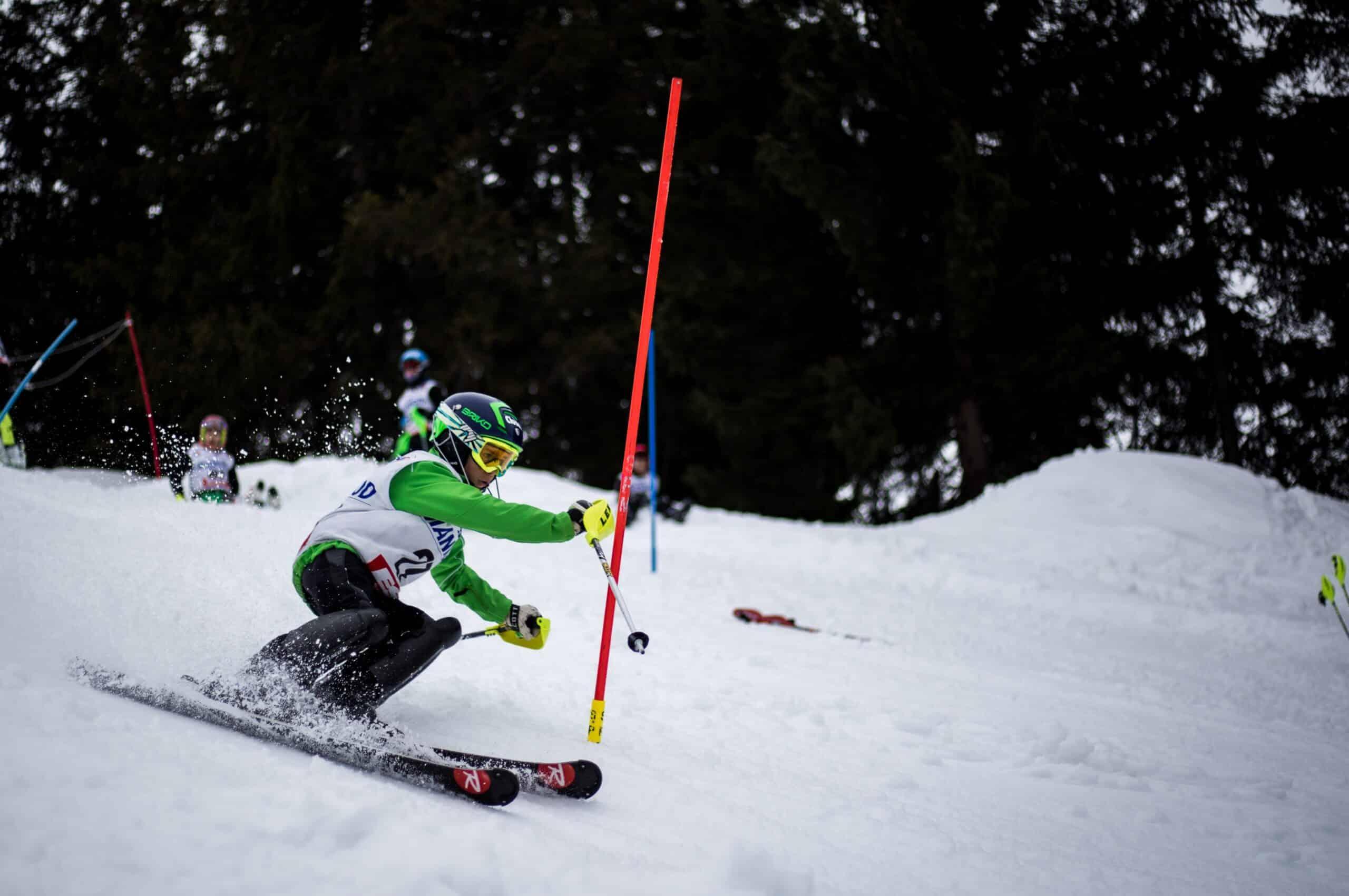 Kid skiing in helmet