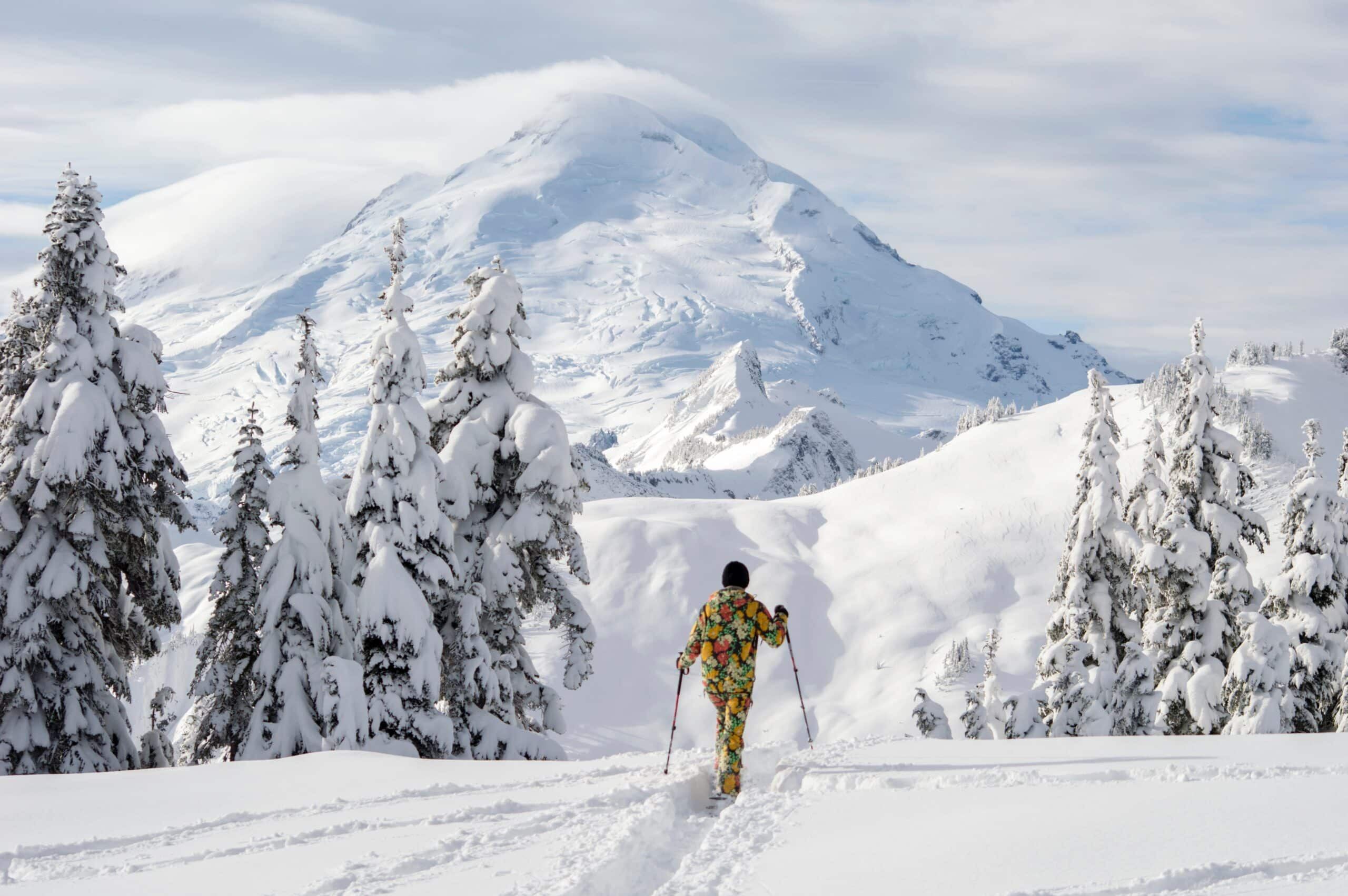 Man in best headphones for skiing