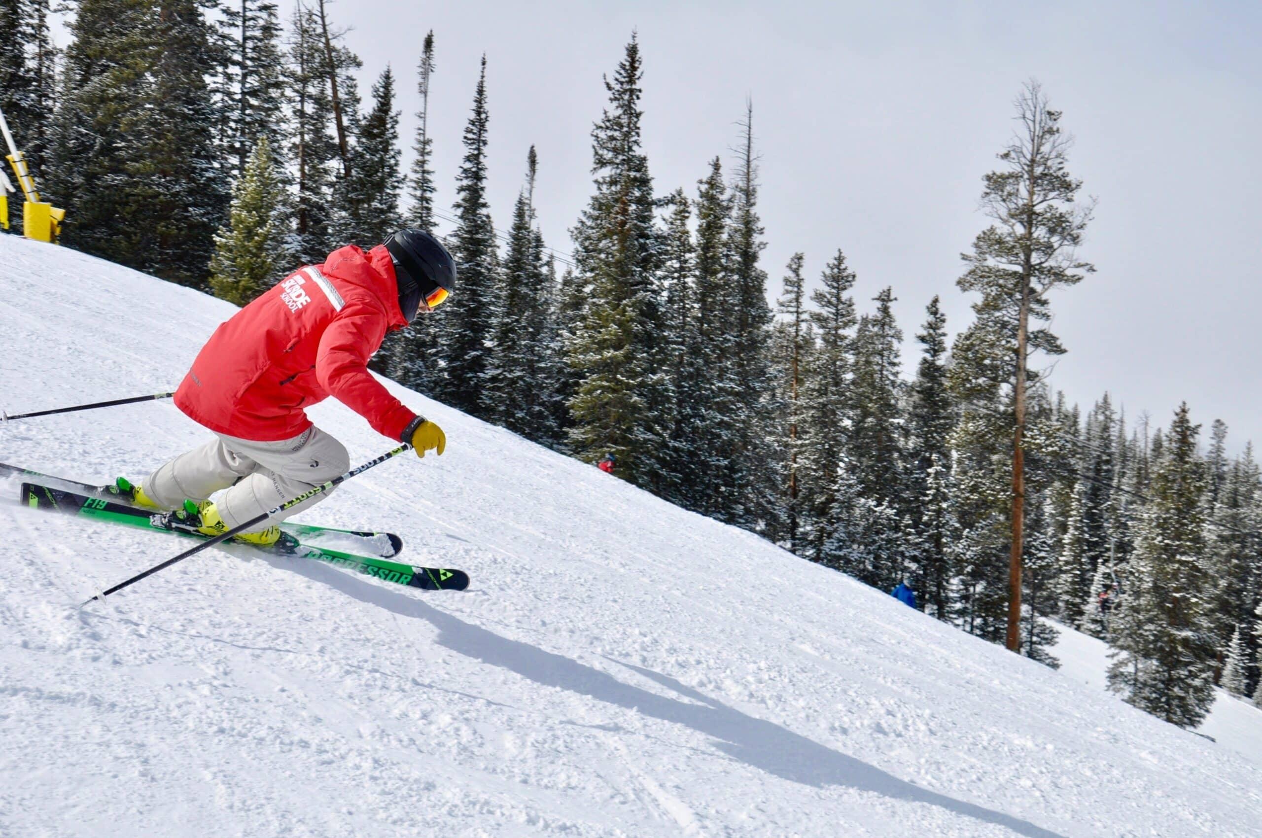 man with alternative ski waxed skis on
