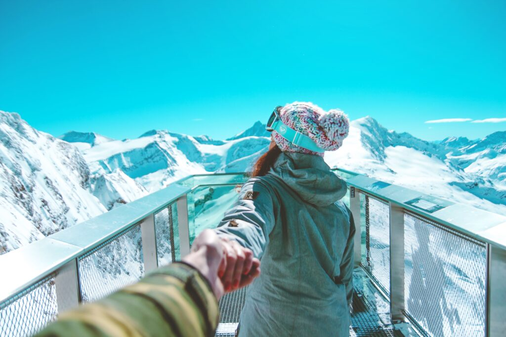 down jacket skiier